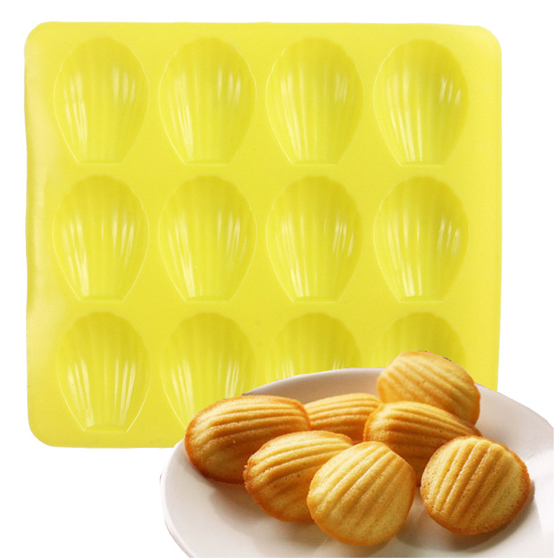 DIY 12 Cavity Silicone Bakeware Silicone Cake Pan Baking Tools Shell Shape Madeleine Cookie Mold Biscuit Mold Cookie Cutter(China (Mainland))
