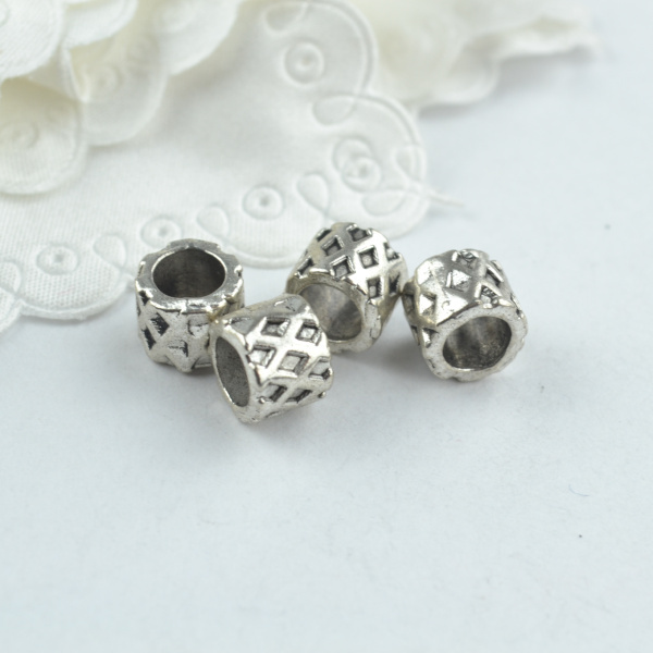 40pcs metal vintage tibetan silver charms big hole beads diy supplies fit european bracelets jewelry making