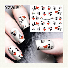 YZWLE 1 Sheet DIY Decals Nails Art Water Transfer Printing Stickers Accessories For Manicure Salon   YZW-8495
