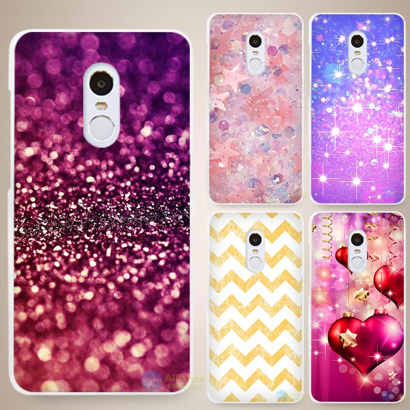 Fade gold Bling Print Hard White Cell Phone Case Cover for Xiaomi Mi Redmi Note 3 3S 4 4A 4C 4S 5 5S Pro(China (Mainland))
