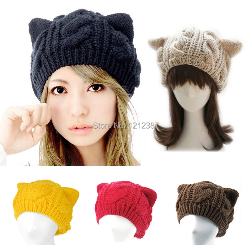 Fashion Lady Girls Winter Warm Knitting Wool Cat Ear Beanie Ski Hat Cap HB88(China (Mainland))