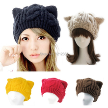 Fashion Lady Girls Winter Warm Knitting Wool Cat Ear Beanie Ski Hat Cap HB88(China (Mainland))