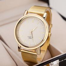Quartzo relógio ocasional brilhante da graduação do ouro marca de moda de nova vender como bolos quentes em malha metálica de aço inoxidável mulheres relógio de pulso