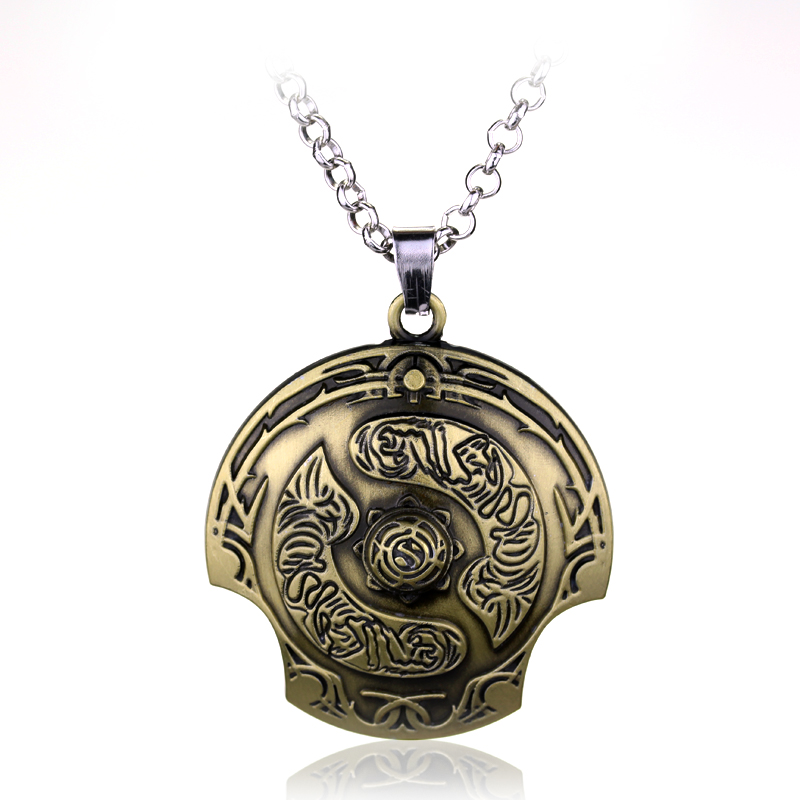 Hot Sale Classical DOTA2 Aegis of the Immortal Necklace Shield Pendant Zinc Alloy Dota 2 Necklaces Mens Jewelry(China (Mainland))