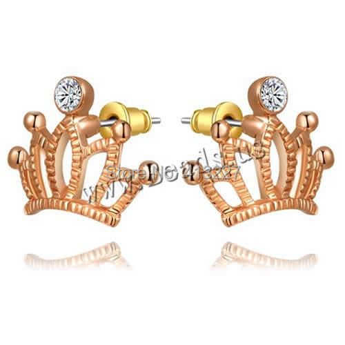 Free shipping!!!Zinc Alloy Stud Earring,Jewelry Brand, brass post pin, Crown, real rose gold plated, with Austria rhinestone<br><br>Aliexpress