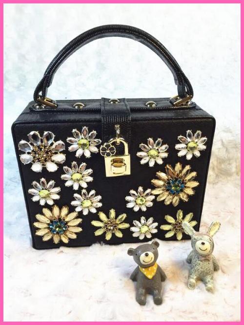 Luxury diamond flower fashion small black lock box bag ladies handbag shoulder bag across body messenger bag flap purse A416(China (Mainland))