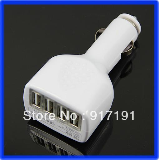 E93 4 USB Ports Car Charger Adapter Auto Power For Apple iPod iPhone MP3 MP4 White NewFree Shipping(China (Mainland))