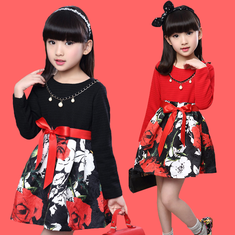 Girls Spring casual dress Childrens Clothing  Girls Full Fashion Printing Princess Dress  teenage girl 13 age kids red clothes<br><br>Aliexpress