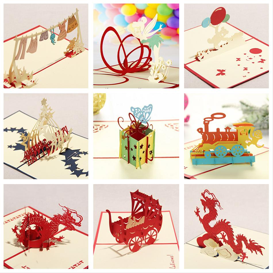 kirigami 3d pop up card birthday cards for children handmade greeting cards 9pcs set combination. Black Bedroom Furniture Sets. Home Design Ideas