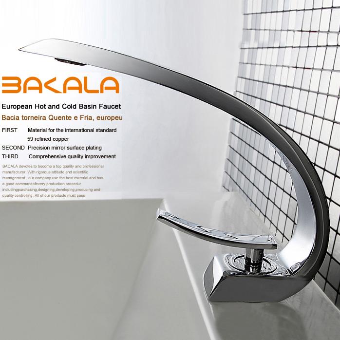 BAKALA modern washbasin design Bathroom faucet mixer waterfall Hot and Cold Water taps for basin of bathroom F6101-1(China (Mainland))
