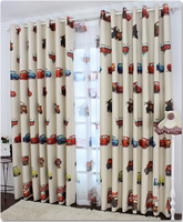 Children room voile curtain cars design window screening sheer cartoon tulle fabric