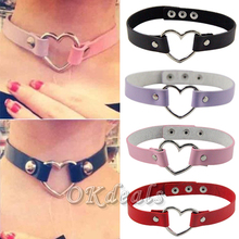 1 PCS Women Favorite Punk Goth Leather Rivet Heart Collar Choker Funky Necklace(China (Mainland))