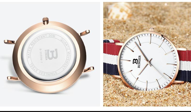 Швейцария БИНГЕР женщины часы люксовый бренд ультратонкий ограниченным тиражом Водонепроницаемый любителей кварцевые Наручные Часы B-3050W-3