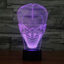 Free Shipping 1 piece Multi Color USB charge Smile Jack Ghost 3D LED light with 3D luminaria night lamp for Hallowmas gadgets