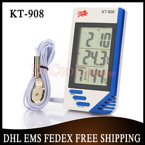 30 pieces/lot 3 in 1 Digital Temperature Humidity Tester Clock Hygrometer Thermometer KT908(China (Mainland))