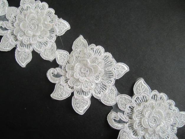 15yard 7cm White 3D Flower Trim Bridal Applique Veil 3d Fabric Embroidery Lace Wedding Dress Accessories 2014 AC0229 - CHIC CABINET store