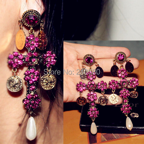 Brand Fashion Designer Jewelry Baroque Vintage Cross Drop Earrings Womens Rhinestone Tassel Dangle Earring Party Accessories - Supersell International Co.,Ltd store