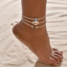 NEWBUY 3 יח'\סט בוהמי זהב שרשרת Anklets לנשים ילדה בעבודת יד טבעי מעטפת צמיד עבור קרסול רגל תכשיטים(China)