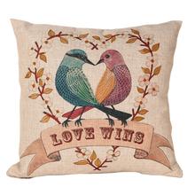 Love Birds Linen Cotton Sofa Cushion Covers
