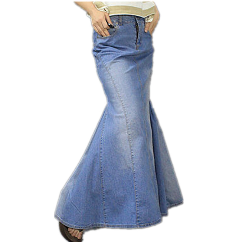 Free Shipping 2013 New Fashion Long Maxi Denim Blue Skirts For Women Floor length Mermaid Fish Tail Jeans XL Skirts With Slit