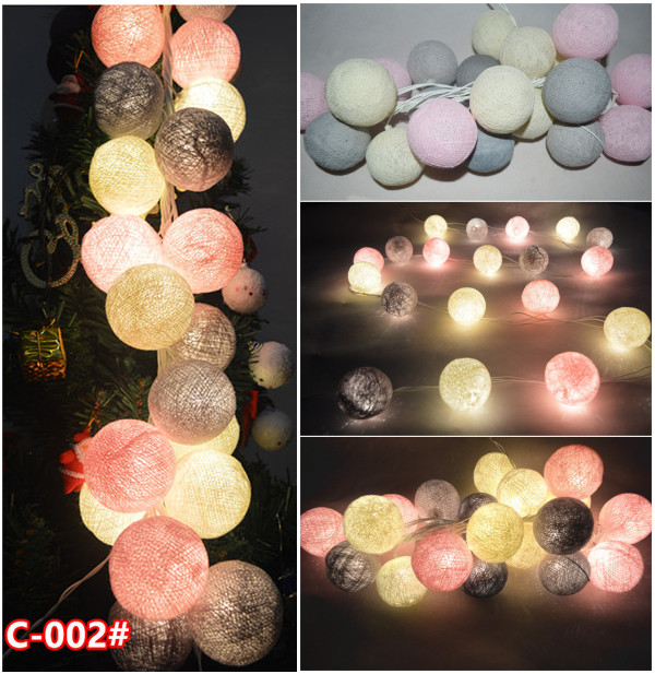 20pcs/set-Vintage sweet Pastel Gray- pink- cream mixed Cotton Ball Patio Party String Lights,Fairy, Wedding,xmas,valentine Decor(China (Mainland))