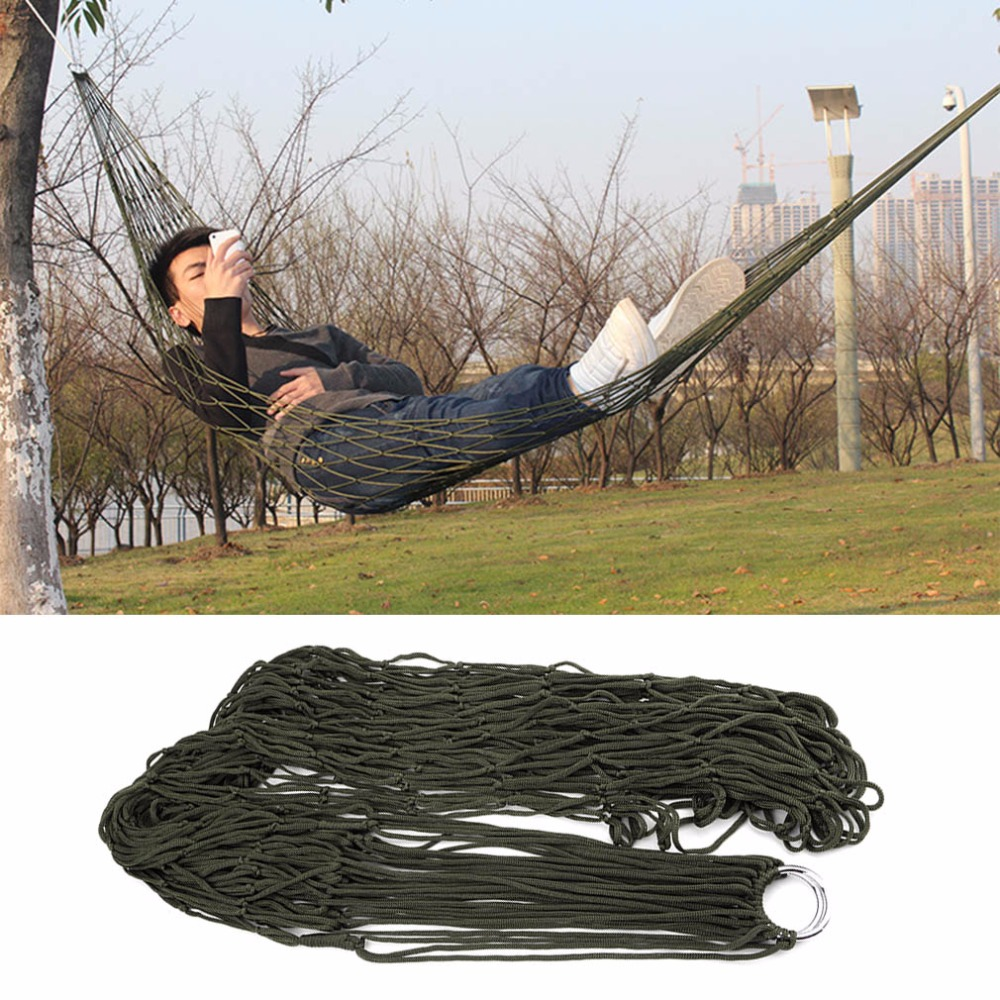 1pcs 2016 New Arrival Garden Outdoor Hammock Sleeping Bed Portable Travel Camping Nylon Hang Mesh Net Worldwide Free Shipping(China (Mainland))