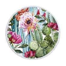 Beach Bath Blanket Cactus Plants Printed Round Beach Towel Mat with Tassel J2Y(China)