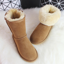 Anlarach/Luxury Sheepskin Snow Boots Australia Winter Sheep Fur Wool Snow Boots Classic Thick Middle Button Women Leather Shoes(China (Mainland))