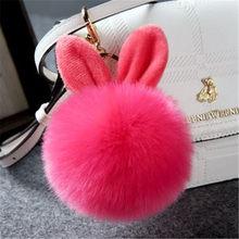 Fantasia & fantasia 10cm de pele pom pom chaveiro fofo coelho chaveiro chaveiro saco do bulbo de cabelo do coelho do falso ornamento do carro bola de pele chaveiro(China)