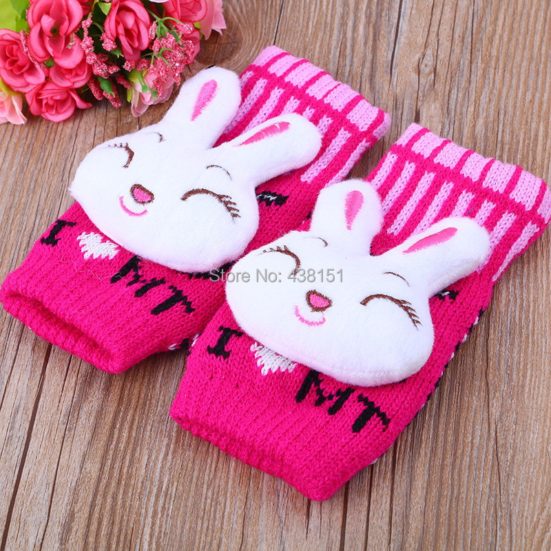 Lovely Rabbit Knitted Gloves, Half Finger Women Fingerless Autumn Winter - NovoResource Reliable Chinese Supplier store