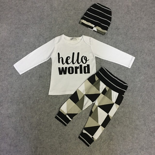 Autumn baby boy/girl  long sleeve letter t-shirt+pants+cap newborn 3pcs