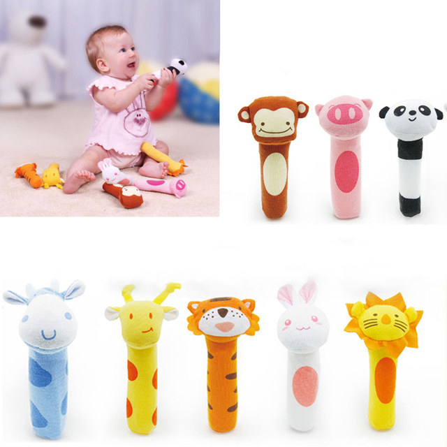 Baby Animal Shaped Catoon Hand Bell Ring Rattles Kid Plush Soft Toy 8 Colors BS88