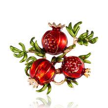 Rinhoo Delima Cherry Enamel Bros Paduan Berlian Imitasi Cabai Merah Semangka Tanaman Pin Bros Kerah Aksesoris Perhiasan Lencana(China)