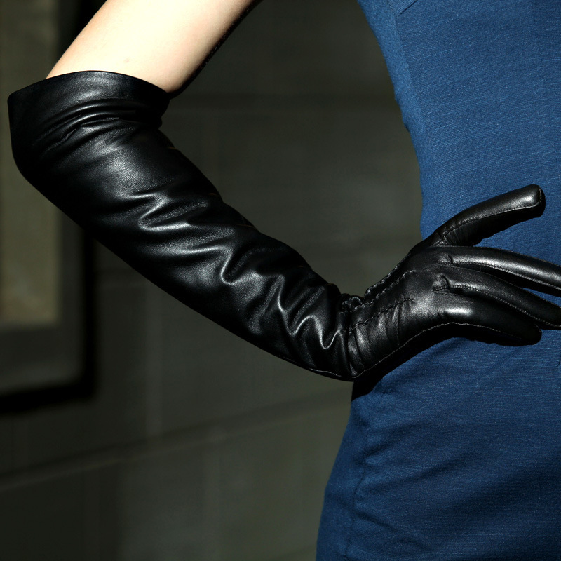 Fashion Solid Black 40-50cm Long Opera Women Gloves Outdoor Genuine Leather Goatskin Glove Driving Special Offer Limited Dc01123(China (Mainland))
