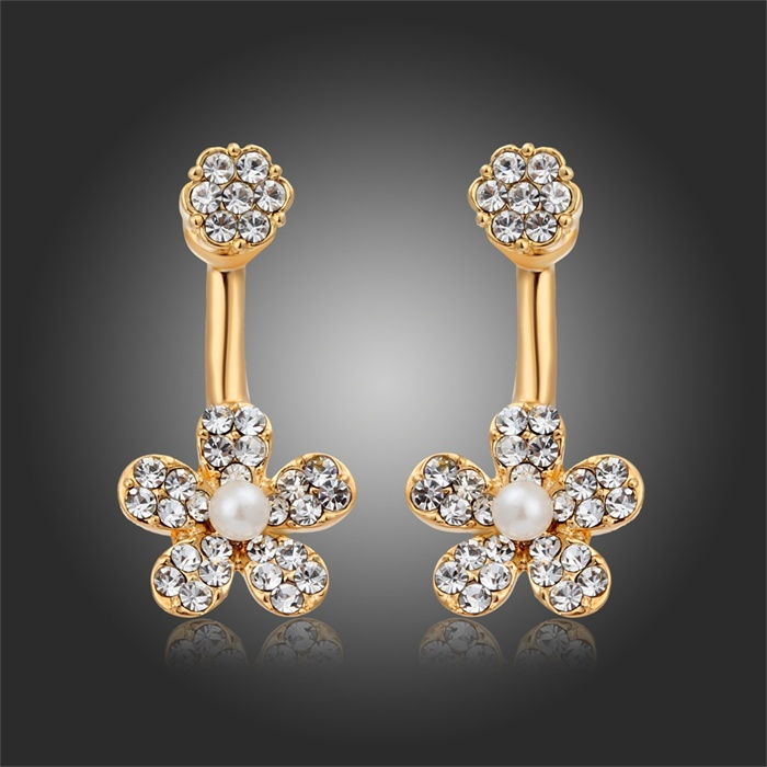 18K Gold Plated Ear Jacket Crystal CZ Simulated Pearl Swing Pendientes Stud Earrings Double Side Women Girls Jewelry(China (Mainland))