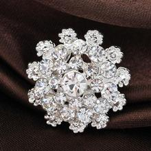 High Quality Fine Bijouterie Rhinestone Snowflake Brooch Small Collar Pin Brooches Wholesale Hat Decoration YBRH-0212(China (Mainland))