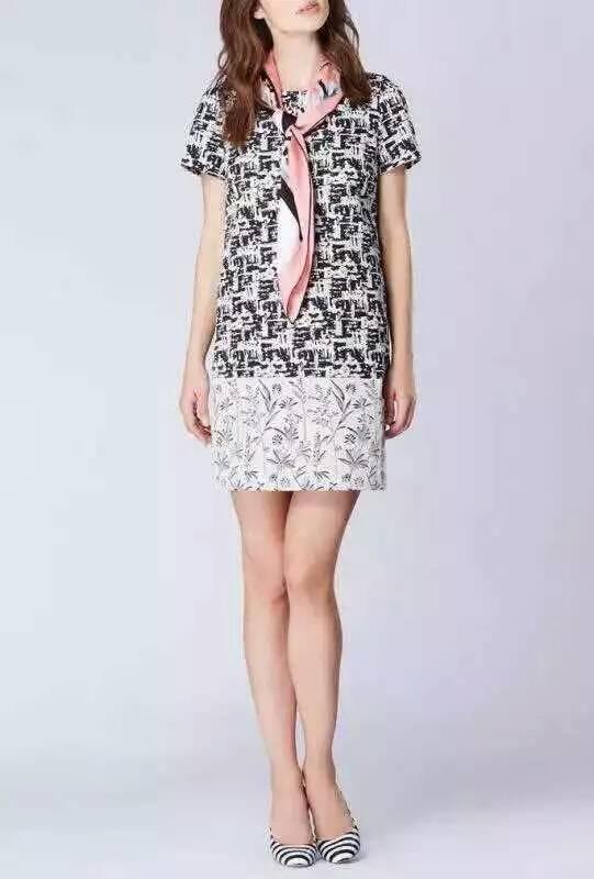 2015 New look contrast color dobby flower dress original brand Italian(China (Mainland))