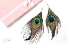 20pair/lot Free shipping Fashion Tibetan Natural Peacock Feather Earring(China (Mainland))