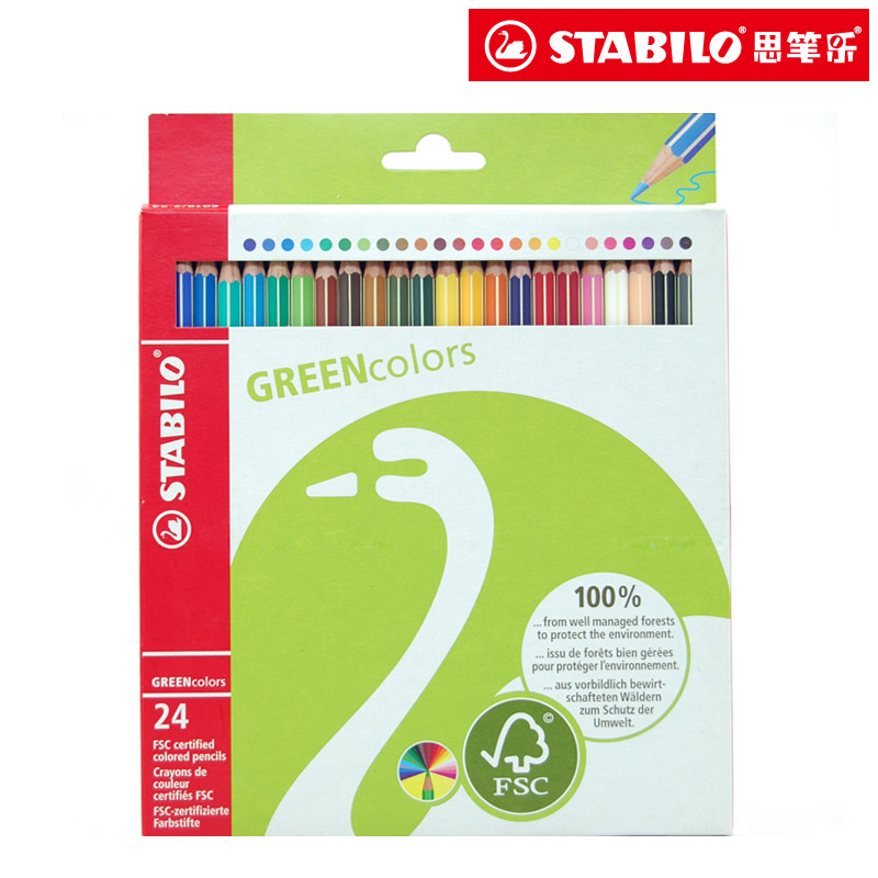 Free shipping Stabilo pen eco-friendly 24 colored pencil colored pencil stationery office & school supplies