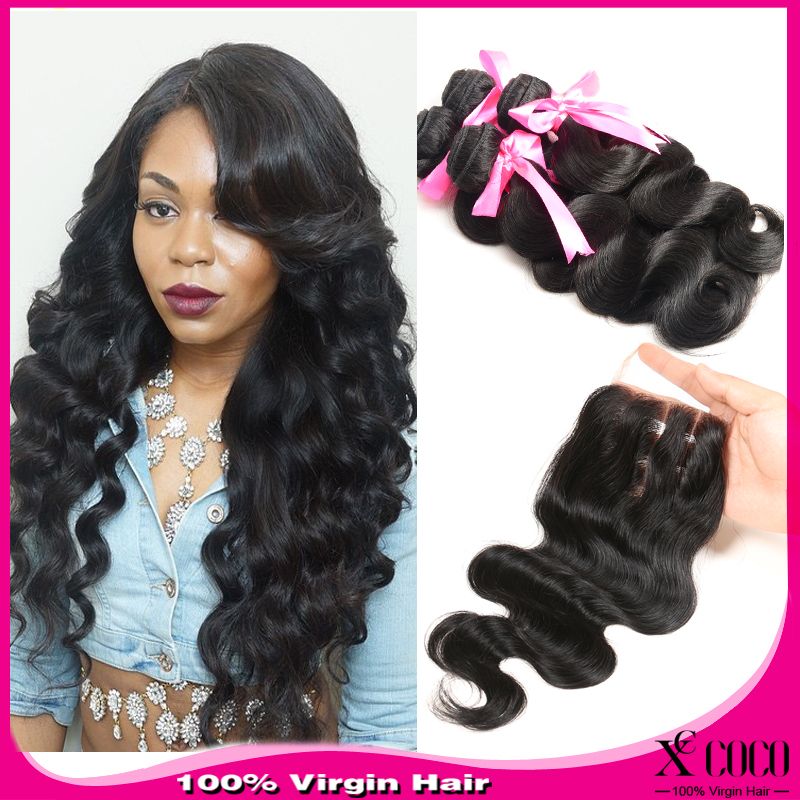 Virgin Hair Bundles With Closure 77