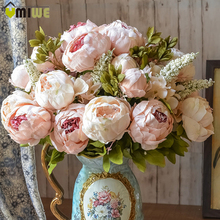 Umiwe 13 Heads European Style Fake Artificial Peony Silk Decorative Party Flowers For Home Hotel Wedding Office Garden Decor(China (Mainland))