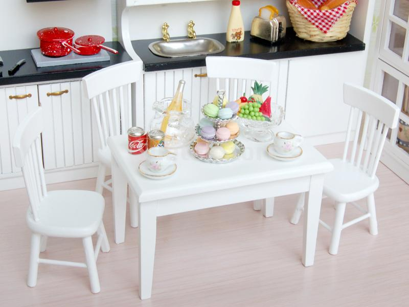 2014 Brand New Dining Table Chair Model Set 1:12 Dollhouse Miniature Furniture White - Bling Fashion store