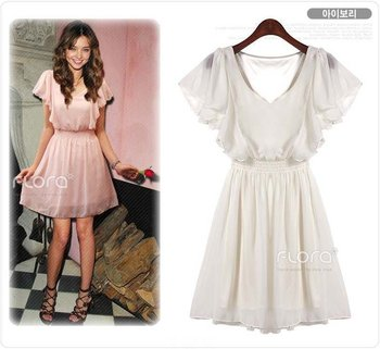 new fashion summer style 2015 chiffon pink black white short sleeve  casual dress women vestidos femininos