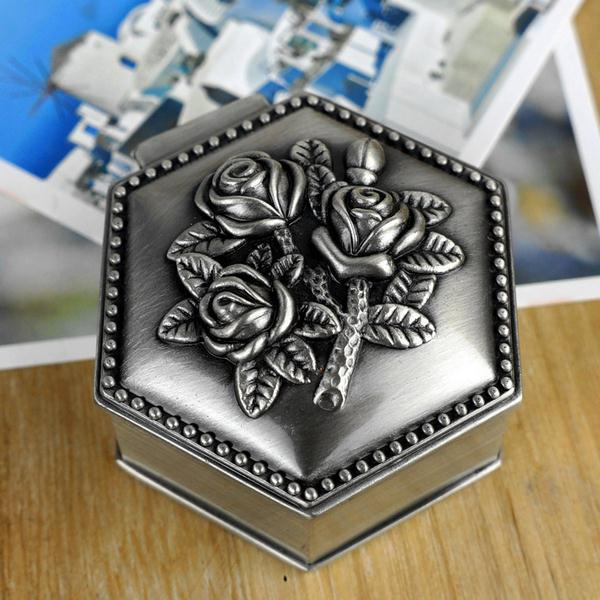 SMALL size Ring Box Trinket Case Vintage Flower Carved Hexagon Design Tin-alloy Metal Jewelry Box(China (Mainland))