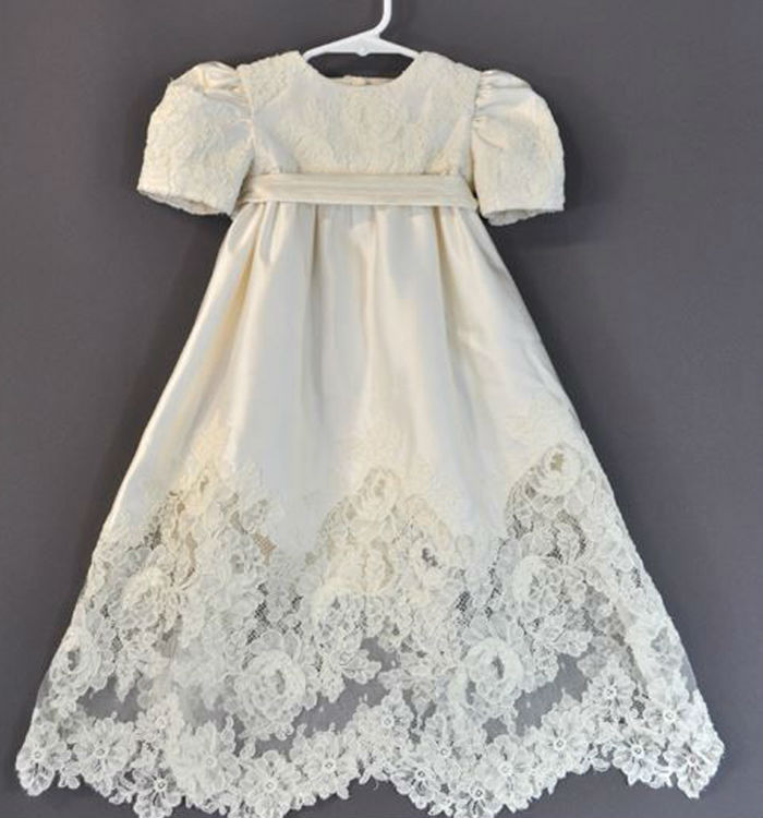 2015 new lace short sleeve flower girl dresses length and for Making baptism dress from wedding gown