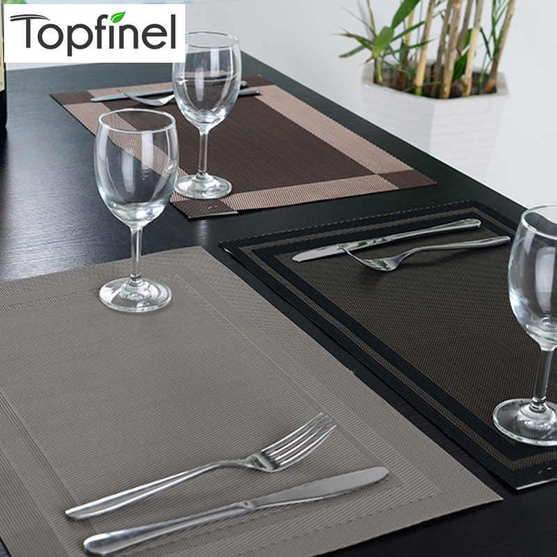 top finel 2016 8pcs lot pvc plaid vinyl placemats for dining table runner linen place mat in