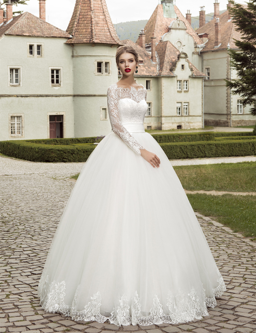 2017 Elegant Long Sleeve Wedding Dress Ball Gown Garden Lace Applique Bridal Wedding Gown Cheap Design Free Shipping(China (Mainland))