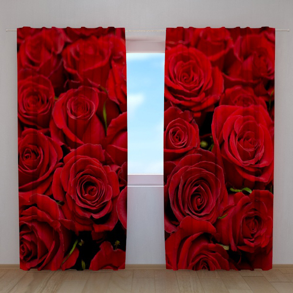 Stunning 3D Red Roses Digital Print Home Decor 3D Flower Curtain For Living Room Amazing 3D Effects(China (Mainland))