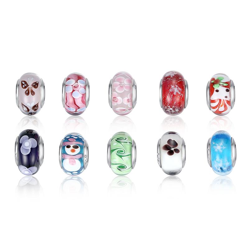 High Quality 925 Silver DIY Murano Glass Beads Fit Pandora Bracelet Bangles Charms For Women Original European Jewelry(China (Mainland))