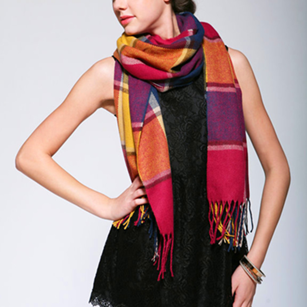 2014 fashion women shawl spring autumn winter thermal Plush scarf muffler tassel design Colorful neck Size: 200 * 60CM - AKSOUND TECH store